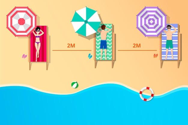 Distanziamento sociale sulla spiaggia