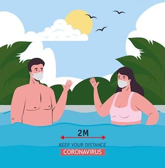 Социальное дистанцирование между мальчиком и девочкой в медицинских масках на морском векторе