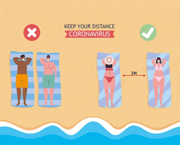 Социальное дистанцирование между мальчиками и девочками в медицинских масках на пляже
