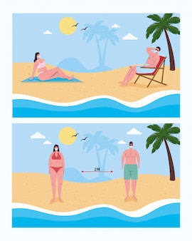 ビーチのベクターデザインで医療マスクを持つ男の子と女の子の間の社会的距離