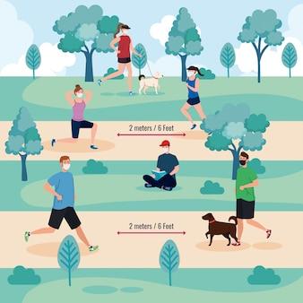 Социальные дистанции между мужчинами и женщинами с масками в парке
