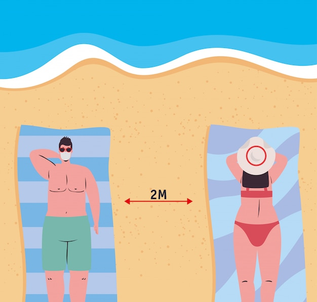 Social distancing between boy and girl with medical masks at the beach vector design