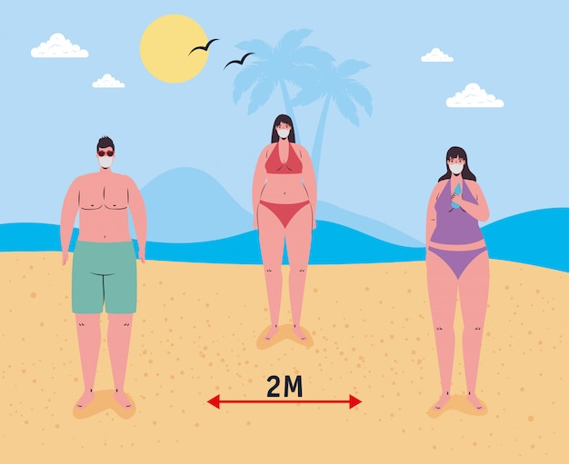 Social distancing between boy and girls with medical masks at the beach vector design
