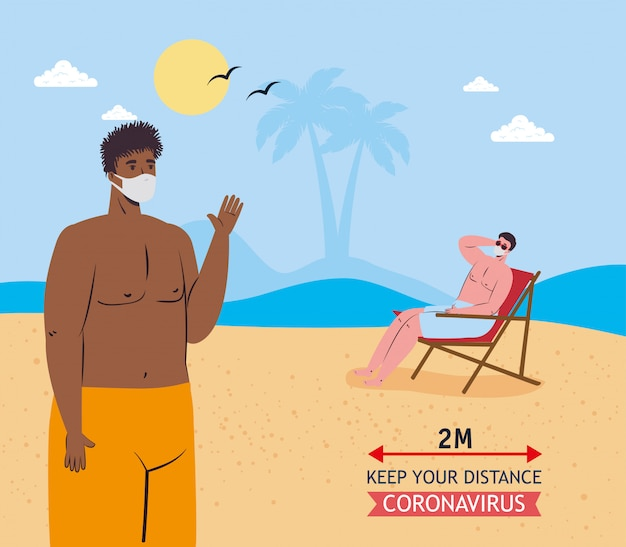 Social distancing between boys with medical masks at the beach vector design