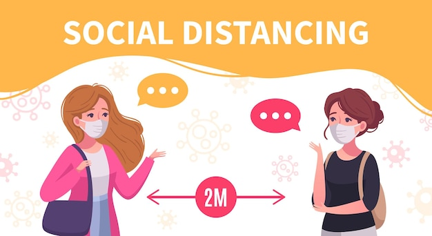 Social distancing cartoon poster with two women communicating staying two metres away from each other