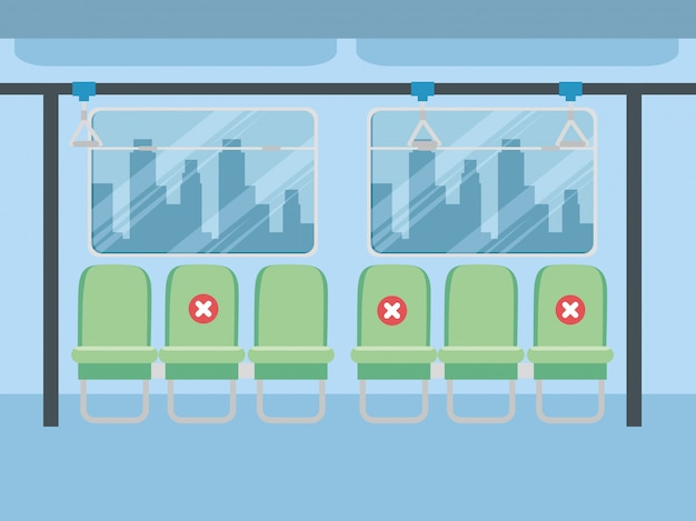 Социальные дистанционные кресла внутри автобуса, для защиты от коронавируса, 19, карантин, пандемия, снижающая риск заражения, концепция социального дистанцирования