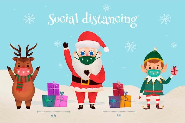Social distancing between christmas characters