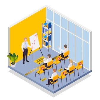 Social distancing in classroom isometric composition with students sitting sitting at distance from each other