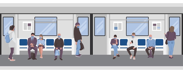 Social distancing of commuters subway seamless border for web banners templates posters