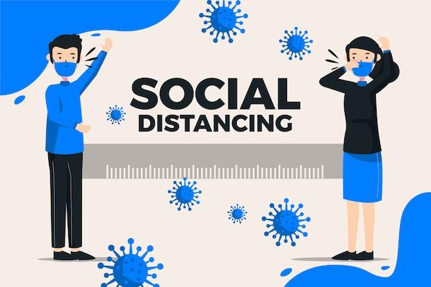 Концепция социального дистанцирования коронавируса Бесплатные векторы
