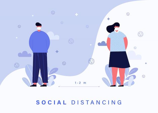 Covid-19コロナウイルスの蔓延から人々を守るための社会的距離概念。