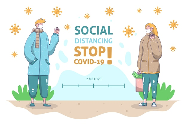 Social distancing concept illustrated