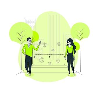 Иллюстрация концепции социального дистанцирования