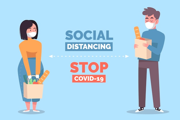 Social distancing concept illustration