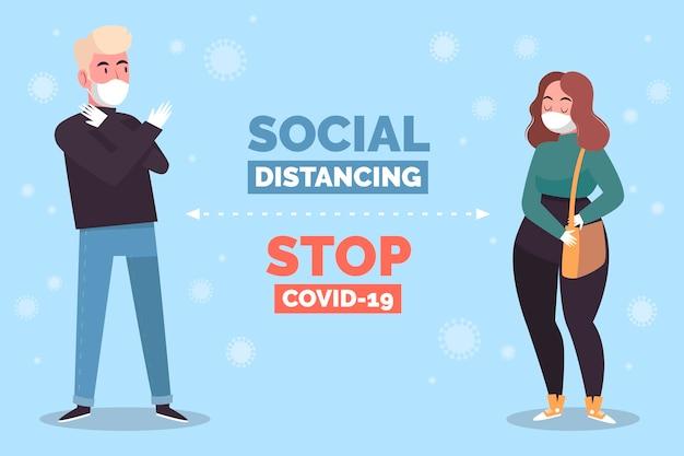 Illustrazione di concetto di allontanamento sociale