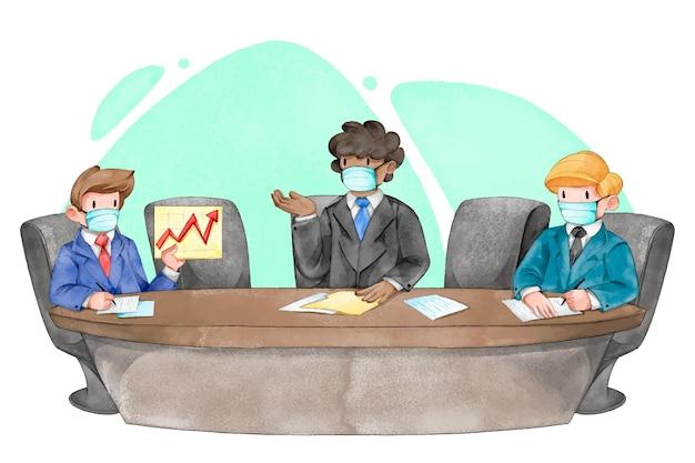 Concetto di allontanamento sociale in una riunione