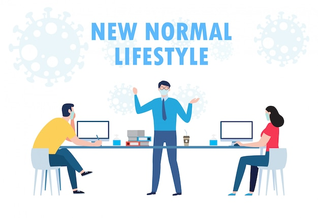Социальное дистанцирование концепции совместной работы деловых людей офиса поддерживает новый нормальный образ жизни на работе. стоп covid-19 коронавирус изолированных иллюстрация