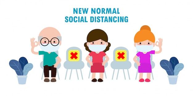 사회적 거리 개념, covid-19 동안 좌석에 의료 마스크를 착용하는 사람들. 흰색 배경 일러스트 레이 션에 고립 된 코로나 바이러스 발생 후 매일 새로운 정상적인 라이프 스타일.