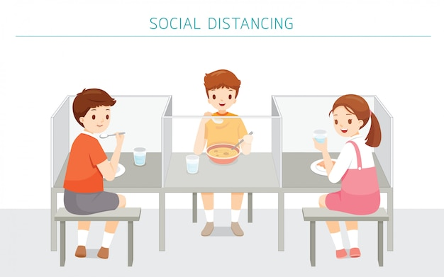 Social distancing concept, school cafeteria new style for protection from covid-19, coronavirus disease, children eating food at school