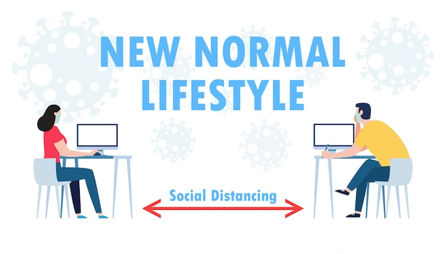 Social distancing concept of teamwork of business office people maintain new normal lifestyle at job working. stop covid-19 coronavirus isolated     illustration