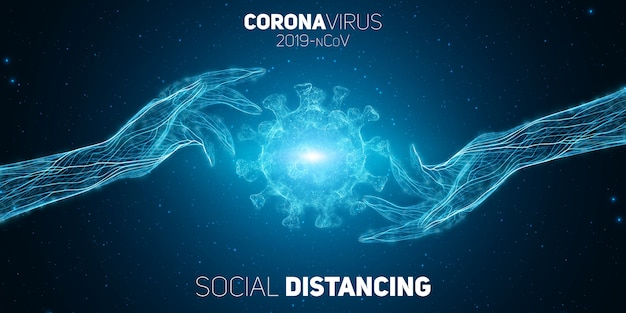 Covid-19コロナブリウス病を防ぐために2つの手が互いに離れている社会的距離概念。病原体保護の図。 covid-19ウイルスの概念の背景。