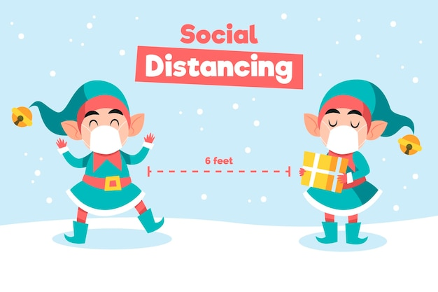 Концепция социального дистанцирования с рождественскими персонажами