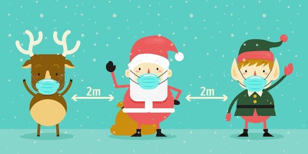 크리스마스 캐릭터와 사회적 거리두기 개념