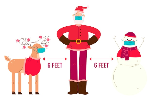 Concetto di allontanamento sociale con personaggi natalizi