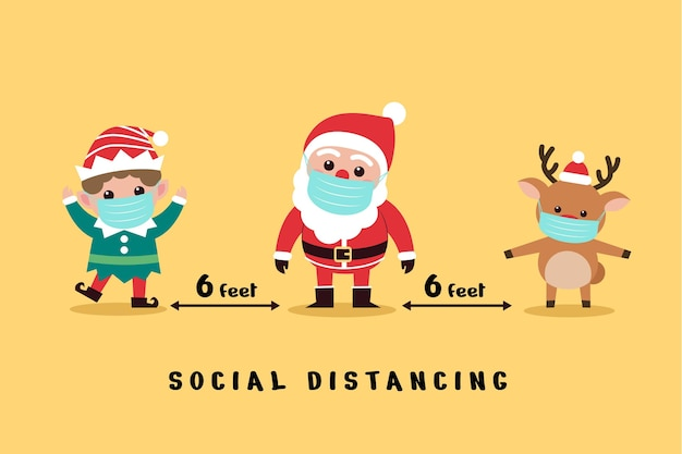 Social distancing concept with christmas characters