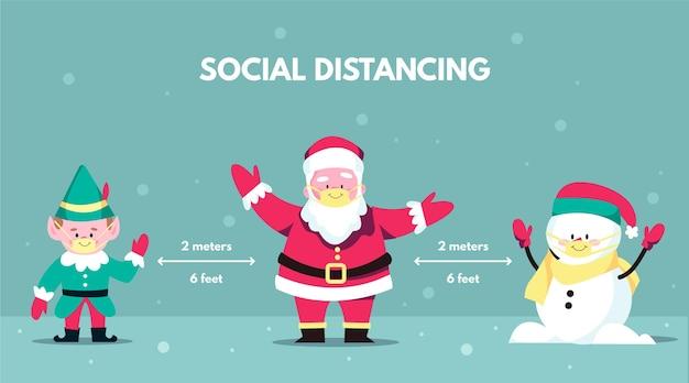 クリスマスのキャラクターと社会的な距離の概念