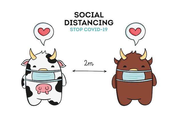 かわいい動物との社会的距離の概念