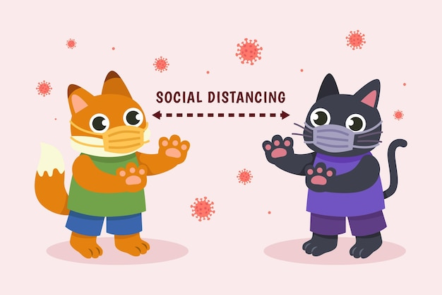 Social distancing concept with cute animals