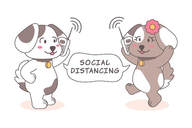 Concetto di allontanamento sociale con simpatici animali