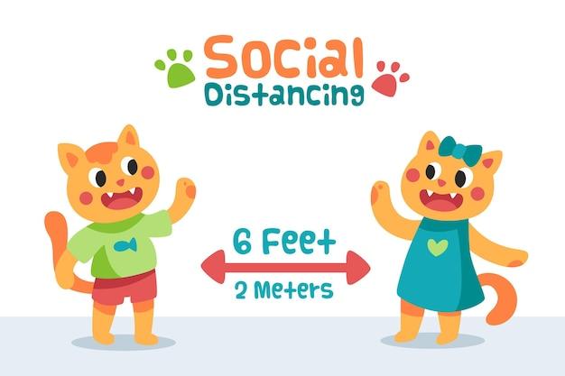 Концепция социального дистанцирования с милыми животными