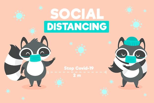 귀여운 동물들과 사회적 거리두기 개념