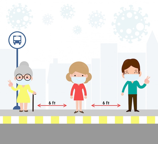 Social distancing concept with people wearing medical masks at the bus stop during coronavirus or covid-19. outbreak new normal lifestyle. avoid spreading illness of covid-19. illustration.
