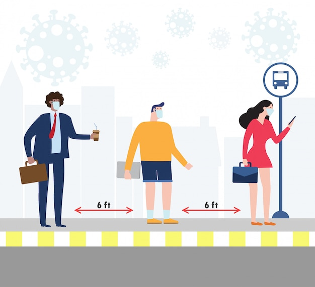 Social distancing concept with people wearing medical masks at the bus stop during covid-19. coronavirus outbreak new normal lifestyle. avoid spreading illness of covid-19. illustration.