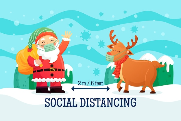 Social distancing concept with reindeer and santa claus