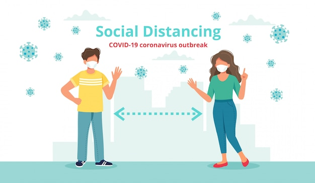 Social distancing concept with two people at a distance waving to each other.