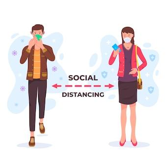 Social distancing coronavirus concept