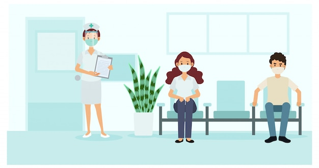 Social distancing and coronavirus covid-19 prevention: maintain a safe distance from others in hospital. nurse and patients in the hospital. illustration.