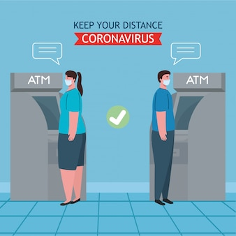 Social distancing and coronavirus covid-19 prevention, maintain a safe distance from others when using atm