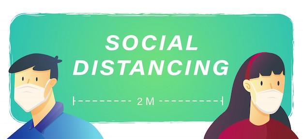 Social distancing for covid-19 or coronavirus concept inscription design banner