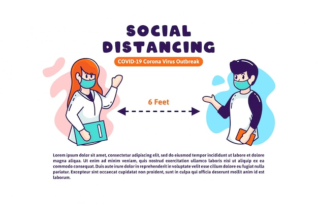 パンフレットバナーポスター病院と社会の社会的距離covid-19イラスト
