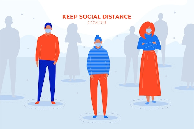 社会的距離covid19コンセプト