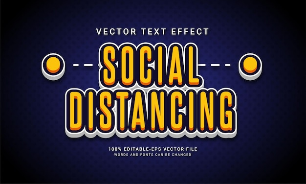 Social distancing editable text effect with pandemic theme