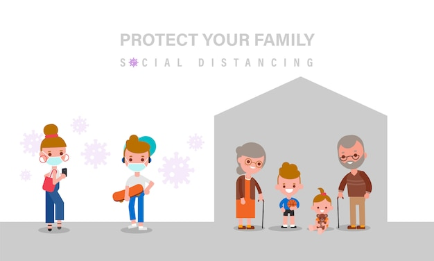 Социальное дистанцирование, пожилые люди и дети должны оставаться дома для безопасности во время пандемии вируса covid-19. люди держатся на расстоянии. иллюстрация в плоском мультяшном стиле дизайна.