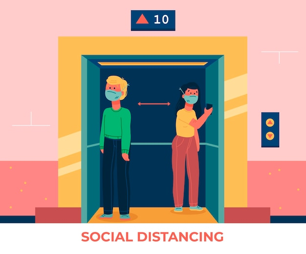 Social distancing in an elevator