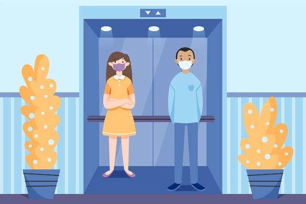 Allontanamento sociale in ascensore
