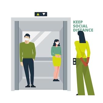 Social distancing in an elevator